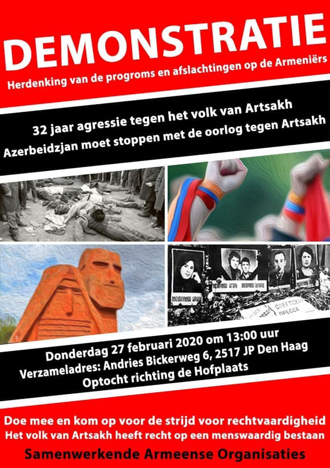 Demonstratie tegenover Azerbeidzjaanse ambassade op 27 februari 2020